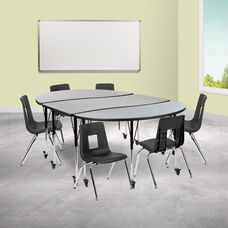 "Mobile 86"" Oval Wave Collaborative Laminate Activity Table Set with 16"" Student Stack Chairs, Grey/Black"