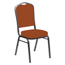 E-Z Wallaby Terra Cotta Vinyl Upholstered Crown Back Banquet Chair - Silver Vein Frame