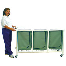 Triple Mesh Bag Hamper with Mesh Bag with Casters - 22.5