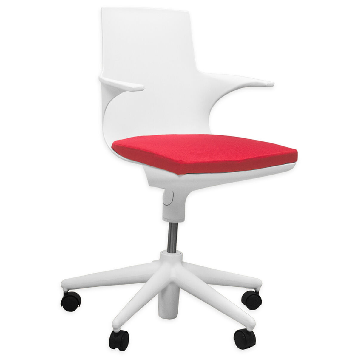 white rolling chair. Our Jaden White Plastic Rolling Chair With Red Cushion Is On Sale Now.