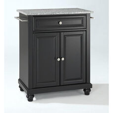 Solid Granite Top Portable Kitchen Island with Cambridge Feet - Black Finish