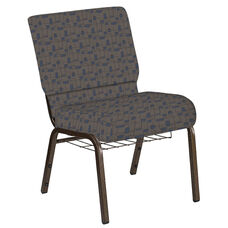 Embroidered 21''W Church Chair in Circuit Maple Fabric with Book Rack - Gold Vein Frame