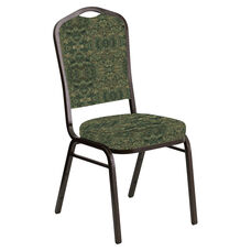 Embroidered Crown Back Banquet Chair in Watercolor Giverney Fabric - Gold Vein Frame