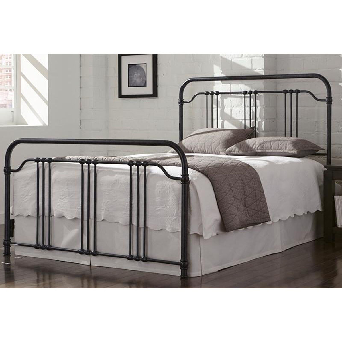Our Wellesly Traditional Metal Bed With Frame Queen Marbled Navy Is On Now