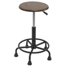 Retro Height Adjustable Steel Stool with Footring and 5 Star Base - Black and Rustic Oak