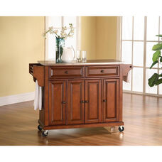 Stainless Steel Top Kitchen Island Cart with Cabinets - Classic Cherry Finish