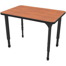 Apex Series Height Adjustable Rectangular Activity Table - Wild Cherry Top with Black Edge and Legs - 36