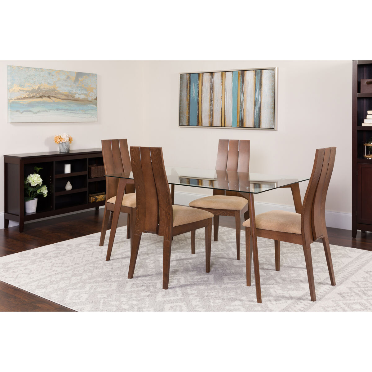 Our hawthorne 5 piece walnut wood dining table set with glass top and wide slat back