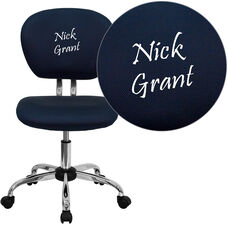 Embroidered Mid-Back Navy Mesh Padded Swivel Task Office Chair with Chrome Base