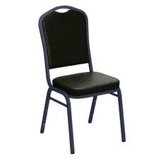 E-Z Sierra Black Vinyl Upholstered Crown Back Banquet Chair - Silver Vein Frame