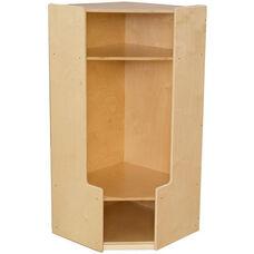 Wooden Corner Locker Unit with Double Coat Hooks - 22.5