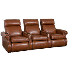 Bradford Three Seater Home Theater - Straight Arm in Bonded Leather