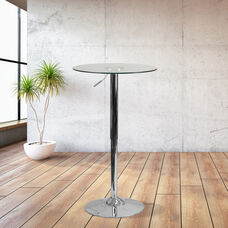 23.5'' Round Adjustable Height Glass Table (Adjustable Range 33.5'' - 41'')