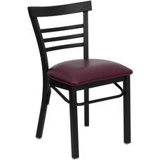 HERCULES Series Black Three-Slat Ladder Back Metal Restaurant Chair - Burgundy Vinyl Seat