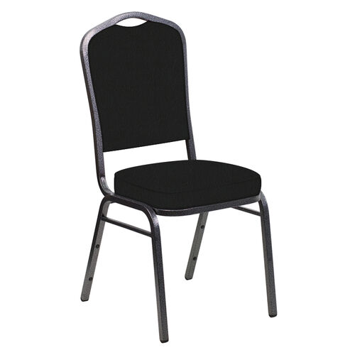 Our Embroidered E-Z Oxen Black Vinyl Upholstered Crown Back Banquet Chair - Silver Vein Frame is on sale now.