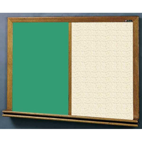 Our 210 Series Wood Frame Combo Chalkboard and Tackboard - Fabricork - 48