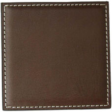 Leatherette Low Profile Coaster with Stitching - Brown