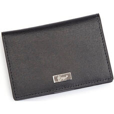 RFID Blocking Coin and Credit Card Case Wallet - Saffiano Genuine Leather - Black