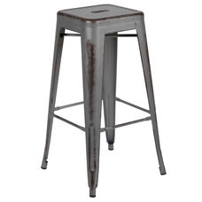 "Commercial Grade 30"" High Backless Distressed Silver Gray Metal Indoor-Outdoor Barstool"