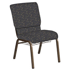 18.5''W Church Chair in Circuit Gray Fabric with Book Rack - Gold Vein Frame