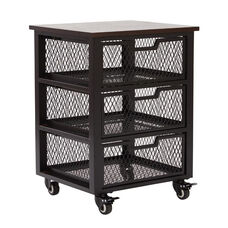 OSP Designs Garret Black 3 Drawer Rolling Cart with Wood Top - Espresso Top