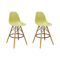 Paris Tower Barstool with Wood Legs and Green Seat - Set of 2