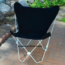 Folding Butterfly Chair with White Steel Frame and Cotton Cover - Ebony