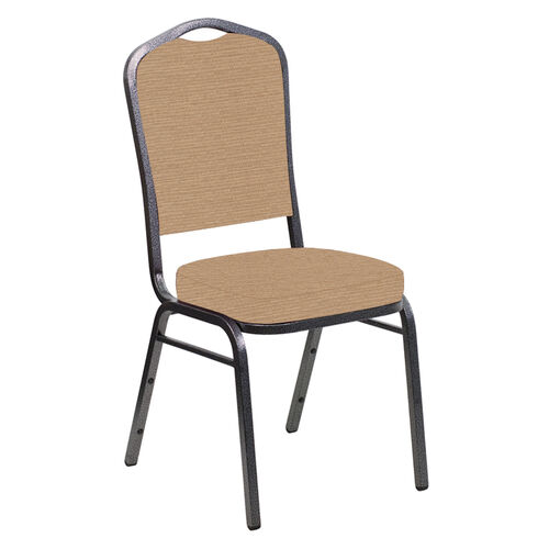 Our Embroidered Crown Back Banquet Chair in Tahiti Taupe Fabric - Silver Vein Frame is on sale now.