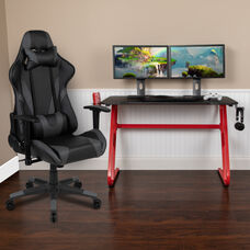 BlackArc Red Gaming Desk and Gray Reclining Gaming Chair Set with Cup Holder and Headphone Hook