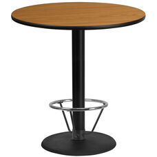 42'' Round Natural Laminate Table Top with 24'' Round Bar Height Table Base and Foot Ring