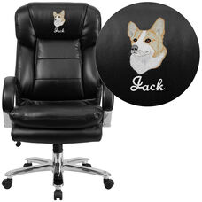 Embroidered HERCULES Series 24/7 Intensive Use Big & Tall 500 lb. Rated Black Leather Ergonomic Office Chair