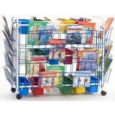 Deluxe Classroom/Library Book Browser Cart with 3 Book Displays and 9 Multi-Shaped Tubs - 49