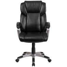 Basics Mid-Back LeatherSoft Executive Swivel Office Chair with Padded Arms, Black