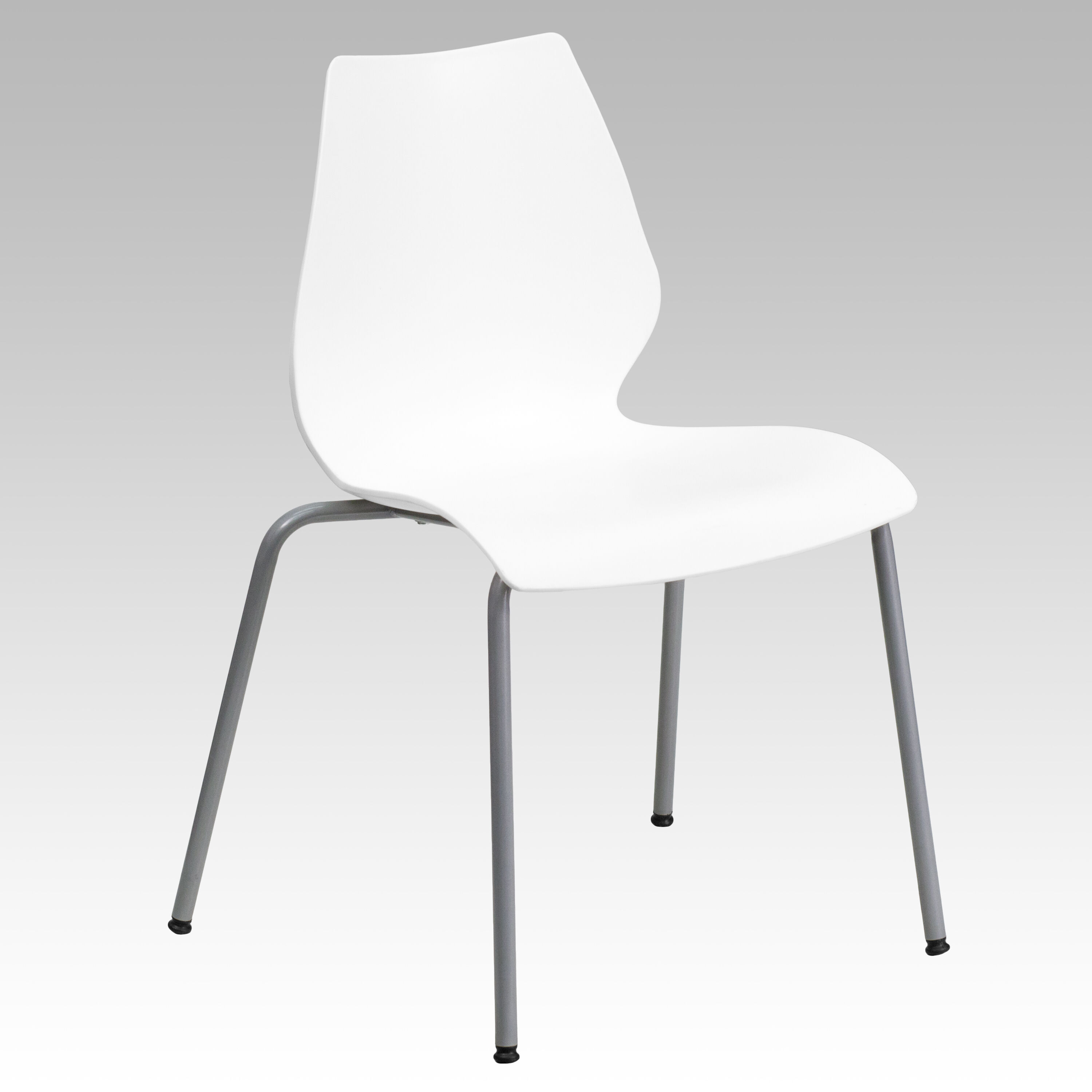 Capacity White Stack Chair With Lumbar Support And Silver Frame