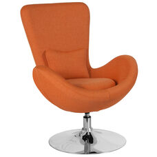 Egg Series Orange Fabric Side Reception Chair