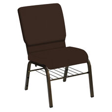 HERCULES Series 18.5''W Church Chair in E-Z Wallaby Espresso Vinyl with Book Rack - Gold Vein Frame