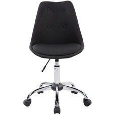 Techni Mobili Armless Task Chair with Tufted Buttons and Chrome Base - Black