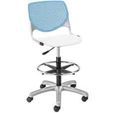 DS2300 KOOL Series Poly Armless Task Stool with Sky Blue Perforated Back and White Seat