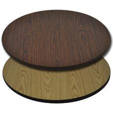 "Advantage 24"" Round Restaurant Table Top - Oak or Walnut Reversible Laminate"
