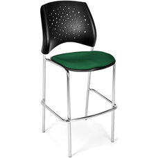 Stars Cafe Height Chair with Fabric Seat and Chrome Frame - Forrest Green
