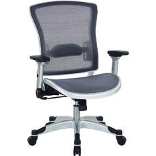 Space Executive Breathable Mesh Back Chair with Silver Finish Flip Arms
