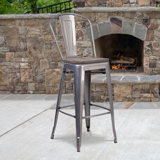 """30"""" High Clear Coated Barstool with Back and Wood Seat"""