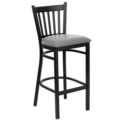 Our Black Vertical Back Metal Restaurant Barstool with Custom Upholstered Seat is on sale now.