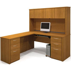 Embassy L-Shaped Workstation Kit with 4 Utility Drawers and 2 Filing Drawers - Cappuccino Cherry