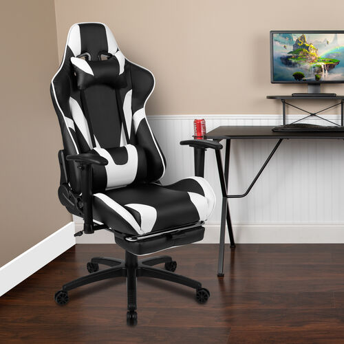 Our BlackArc X30 Gaming Chair Racing Office Ergonomic Computer Chair with Fully Reclining Back and Slide-Out Footrest in Black LeatherSoft is on sale now.