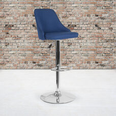 Trieste Contemporary Adjustable Height Barstool in Blue Fabric