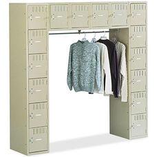 Tennsco Sixteen Box Storage Lockers with Coat Bar - Sand