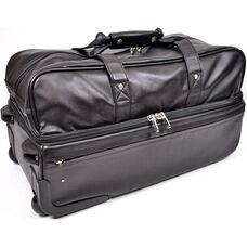 Rolling Trolley Duffel Luggage Bag - Top Grain Nappa Leather - Black
