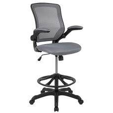 Mid-Back Dark Gray Mesh Ergonomic Drafting Chair with Adjustable Foot Ring and Flip-Up Arms