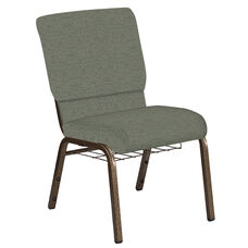 Embroidered 18.5''W Church Chair in Ravine Thyme Fabric with Book Rack - Gold Vein Frame